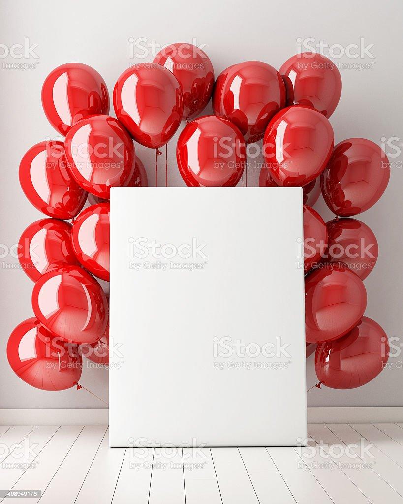 mock up poster in interior background with red balloons - Royaltyfri 2015 Bildbanksbilder