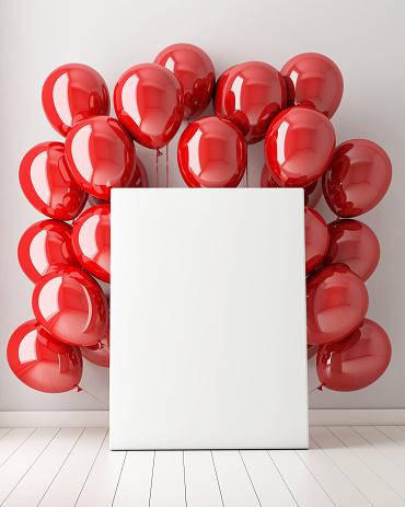 Mock Up Poster In Interior Background With Red Balloons-foton och fler bilder på 2015
