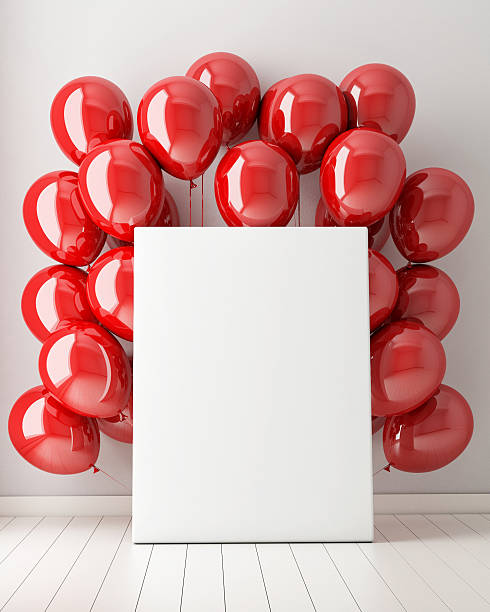 mock up poster in interior background with red balloons - anniversary stock photos and pictures