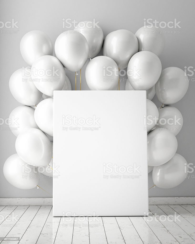 mock up poster in interior background with white balloons stock photo