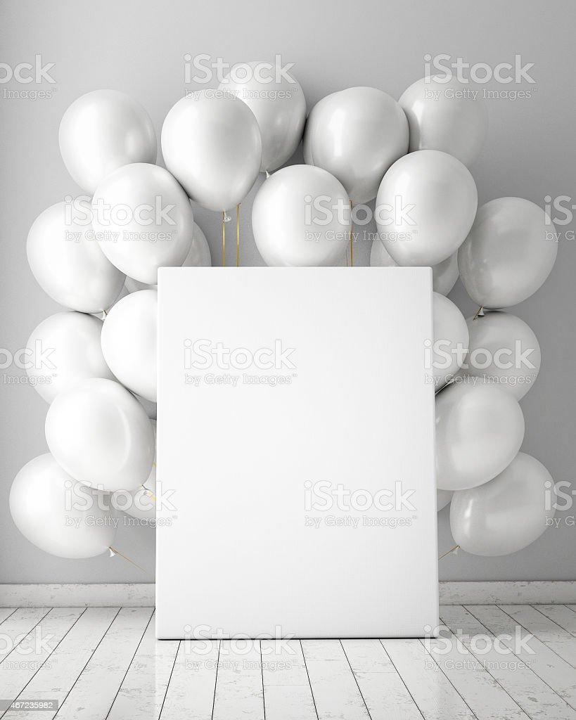 mock up affiche à l'intérieur de l'arrière-plan avec des ballons - Photo