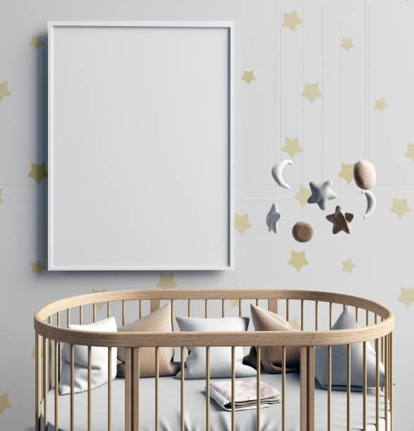 mock-up plakat im inneren des kindes. schlafplatz. moderner stil. 3d illustration - pferde schlafzimmer stock-fotos und bilder
