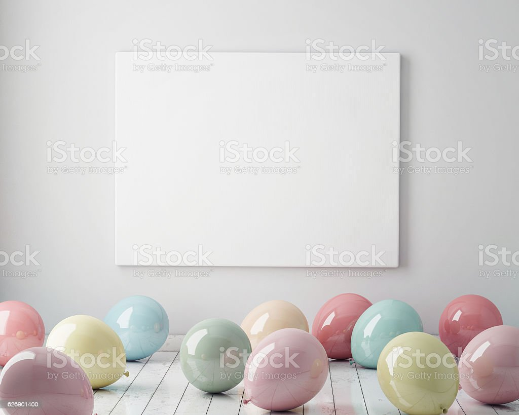 mock up poster in interior, pastel balloons on the floor - Photo