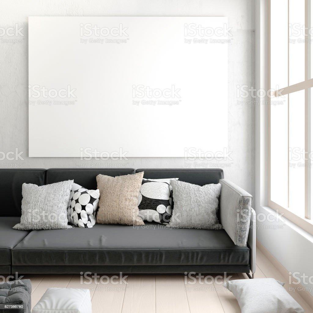 Mockup Plakat Im Innenraum Mit Sofa Moderne Wohnzimmer 3d ...