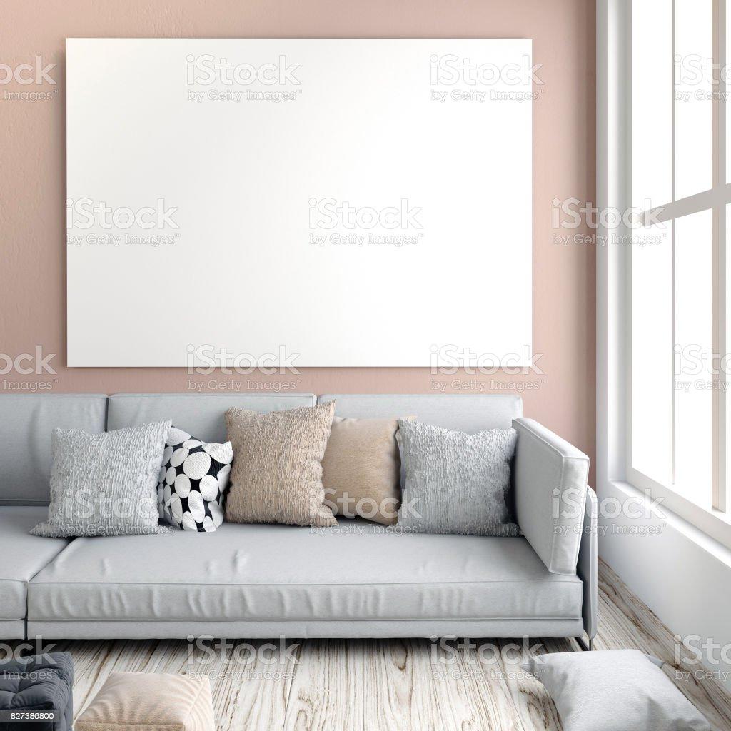 Photo libre de droit de Maquette Affiche En Intérieur Avec Canapé Salon  Style Moderne Illustration 3d banque d\'images et plus d\'images libres de  droit ...