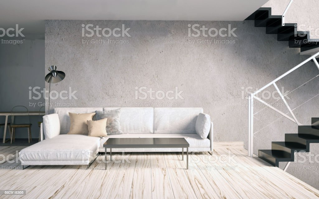 Mock Up Poster In Interior With Stairs And Sofa Living Room Hipster
