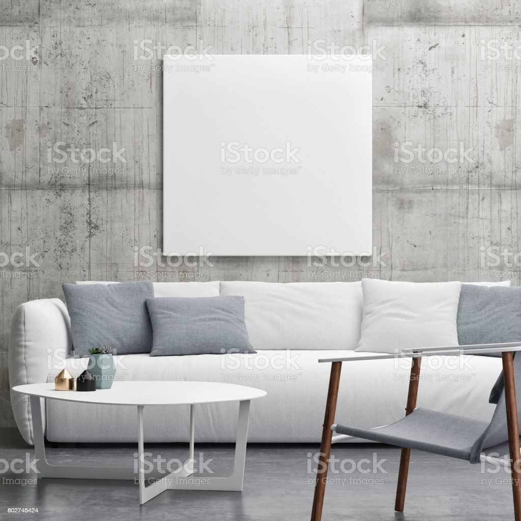Mock up poster in Living room, minimalism interior design stock photo