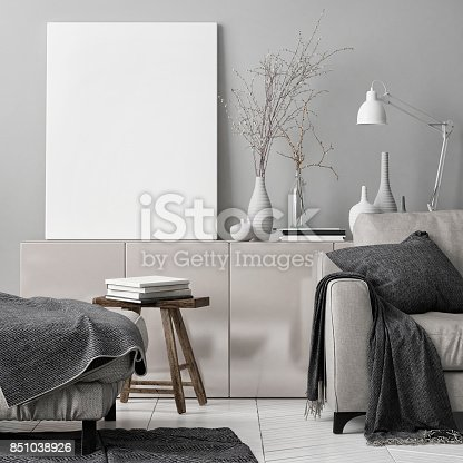 istock Mock up poster in living room 851038926