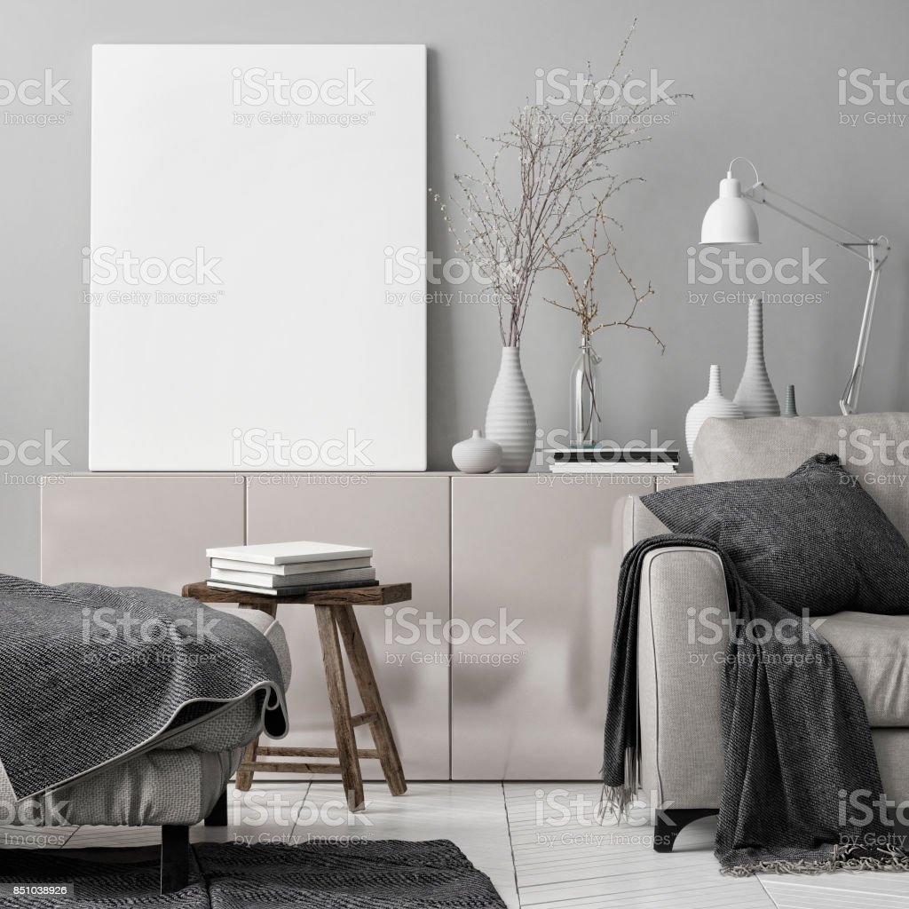 Mock up poster in living room stock photo