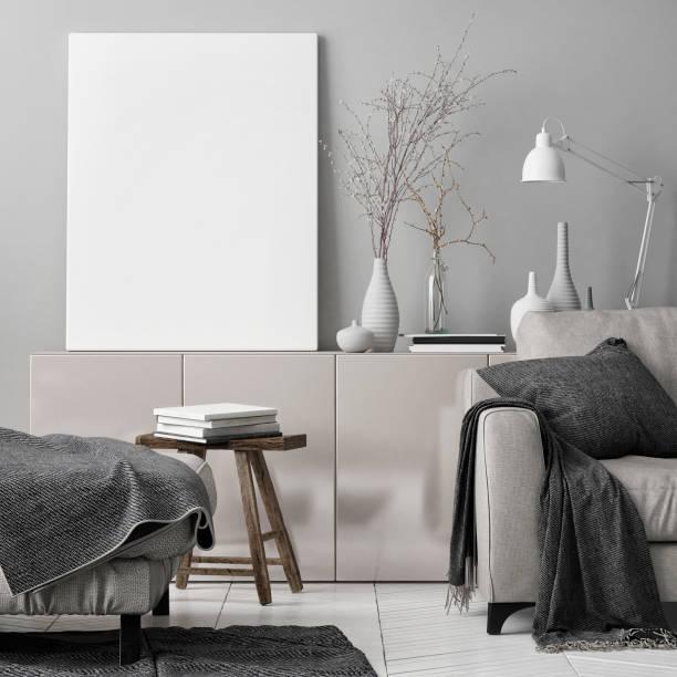 mock-up-poster in wohnzimmer - tischsofa stock-fotos und bilder