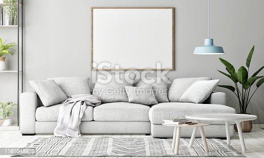 Mock up poster in Living room, Scandinavian decoration, 3d render, 3d illustration