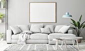 Mock up poster in Living room, Scandinavian decoration, 3d render, 3d illustration
