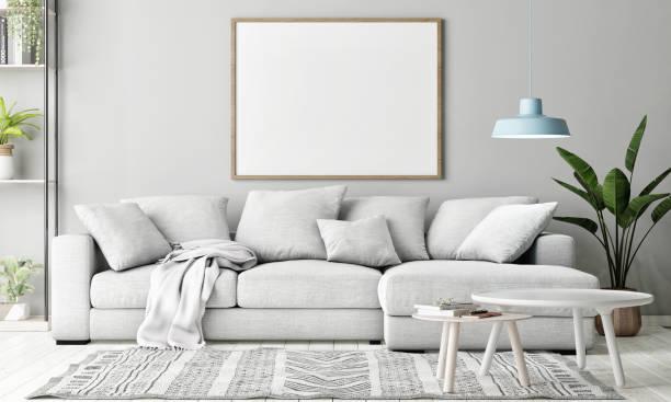 Mock-up-Plakat im Wohnzimmer, skandinavische Dekoration – Foto