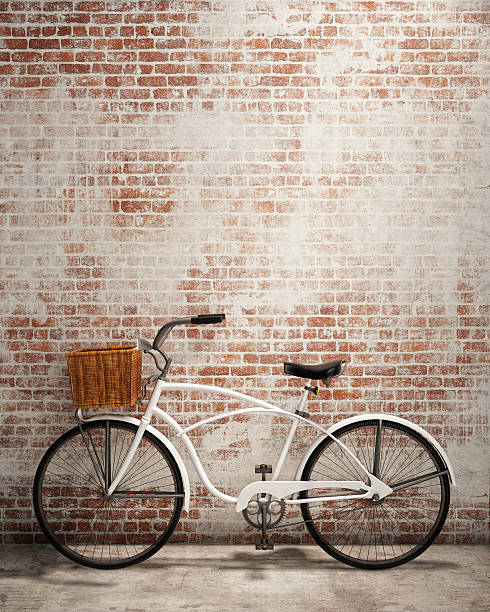 mock up poster in loft interior background with bicycle stock photo