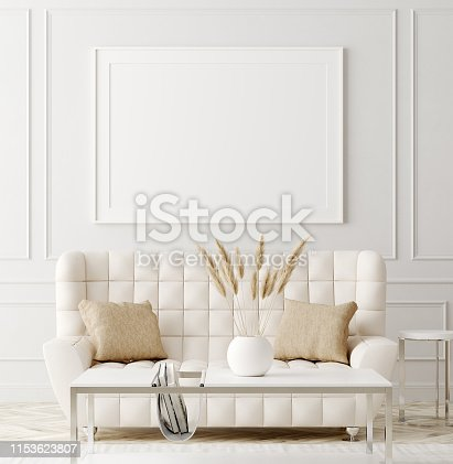 istock Mock up poster in luxury classic style living room interior 1153623807