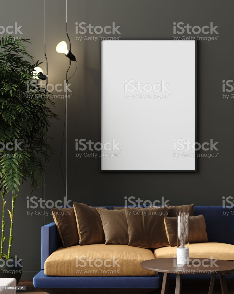 Peachy Mock Up Poster In Luxury Modern Living Room Interior Dark Creativecarmelina Interior Chair Design Creativecarmelinacom