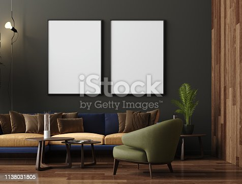 Mock up poster in luxury modern living room interior, dark green brown wall, modern sofa and plants, 3d render