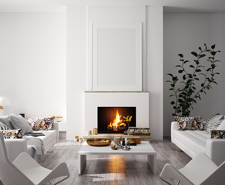 Mock up poster in modern home interior with fireplace, Scandinavian style