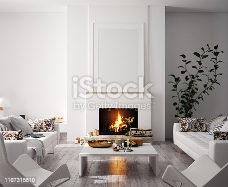 istock Mock up poster in modern home interior with fireplace, Scandinavian style 1167315810