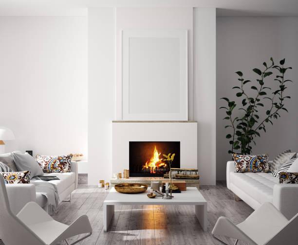 makieta plakatu w nowoczesnym wnętrzu domu z kominkiem, styl skandynawski - luksus zdjęcia i obrazy z banku zdjęć