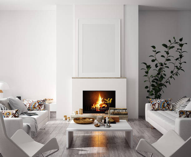 Mock up poster in modern home interior with fireplace, Scandinavian style Mock up poster in modern home interior with fireplace, Scandinavian style, 3d render luxury stock pictures, royalty-free photos & images