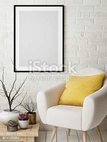 istock Mock up poster in Nordic interior design concept, comfortable sofa, yellow pillow, poster on white brick wall. 874135354