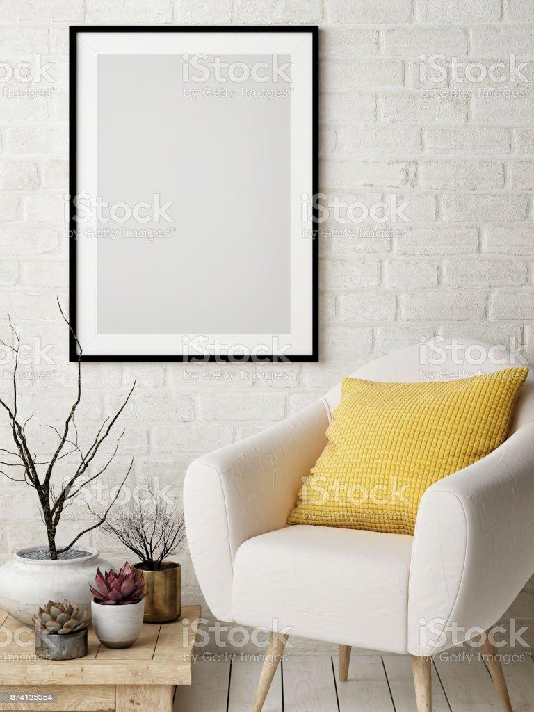 Mock-up Plakat im nordischen Einrichtungskonzept, bequemes Sofa, gelbe Kissen, Poster auf weißen Mauer. – Foto