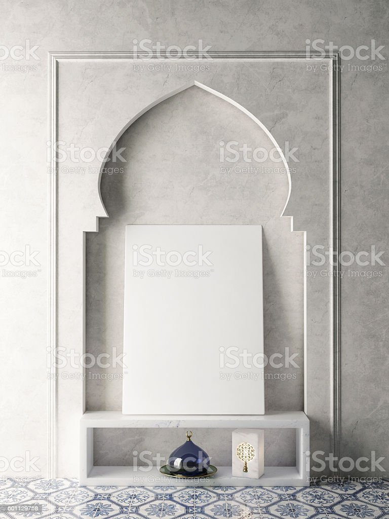 Mock up poster in oriental interior stock photo