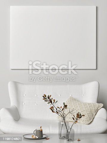 820899008 istock photo Mock up poster in pure interior design, Background poster for presentation 1198124801