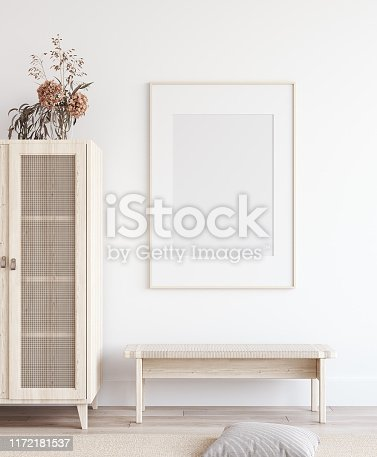 Mock up poster in Scandinavian home interior, 3d render
