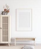Mock up poster in Scandinavian home interior, 3d render