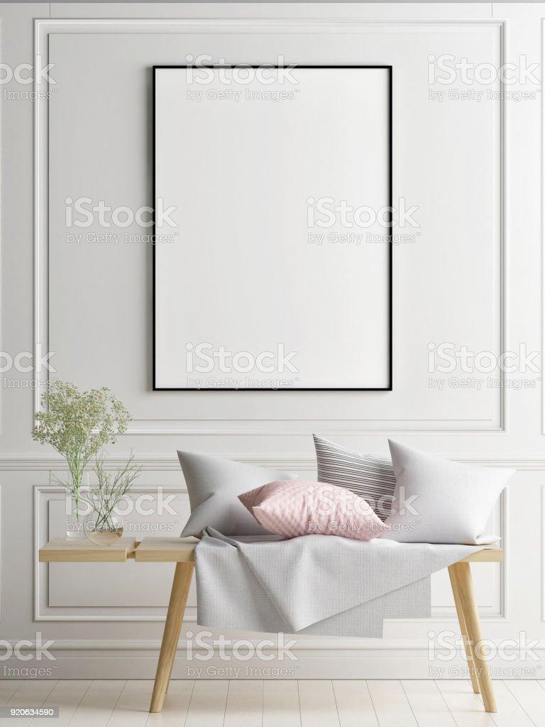 Mock-up Plakat im skandinavischen Innenraum-Konzept-Design, Ihre Kunstwerke hier – Foto
