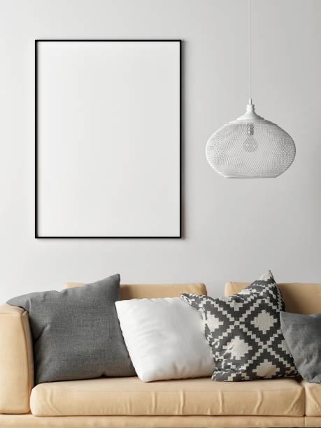 Mock-up-Poster in skandinavischen Innenraumkonzept, Sofa, Sessel und Tisch – Foto