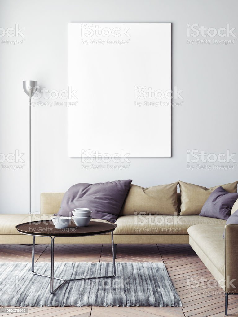 Mock Up Poster In Scandinavian Living Room Background Stock Photo Download Image Now Istock