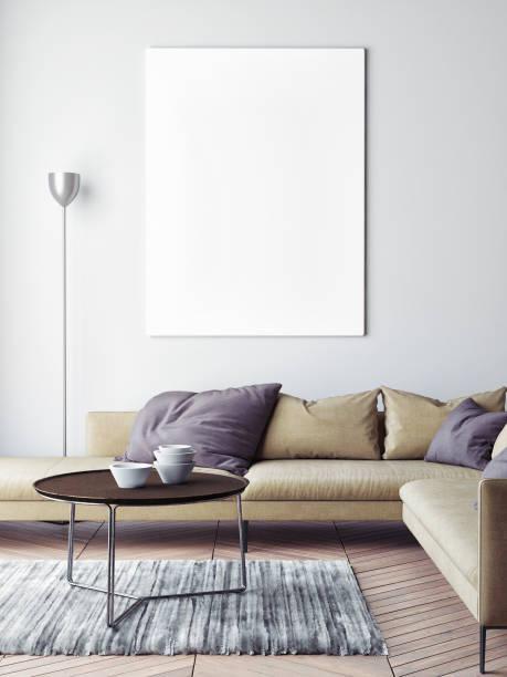Mock-up Plakat im skandinavischen Wohnzimmer Hintergrund – Foto