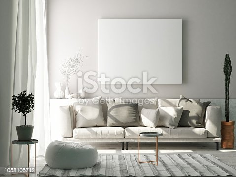 istock Mock up poster in Scandinavian living room concept 1058105712