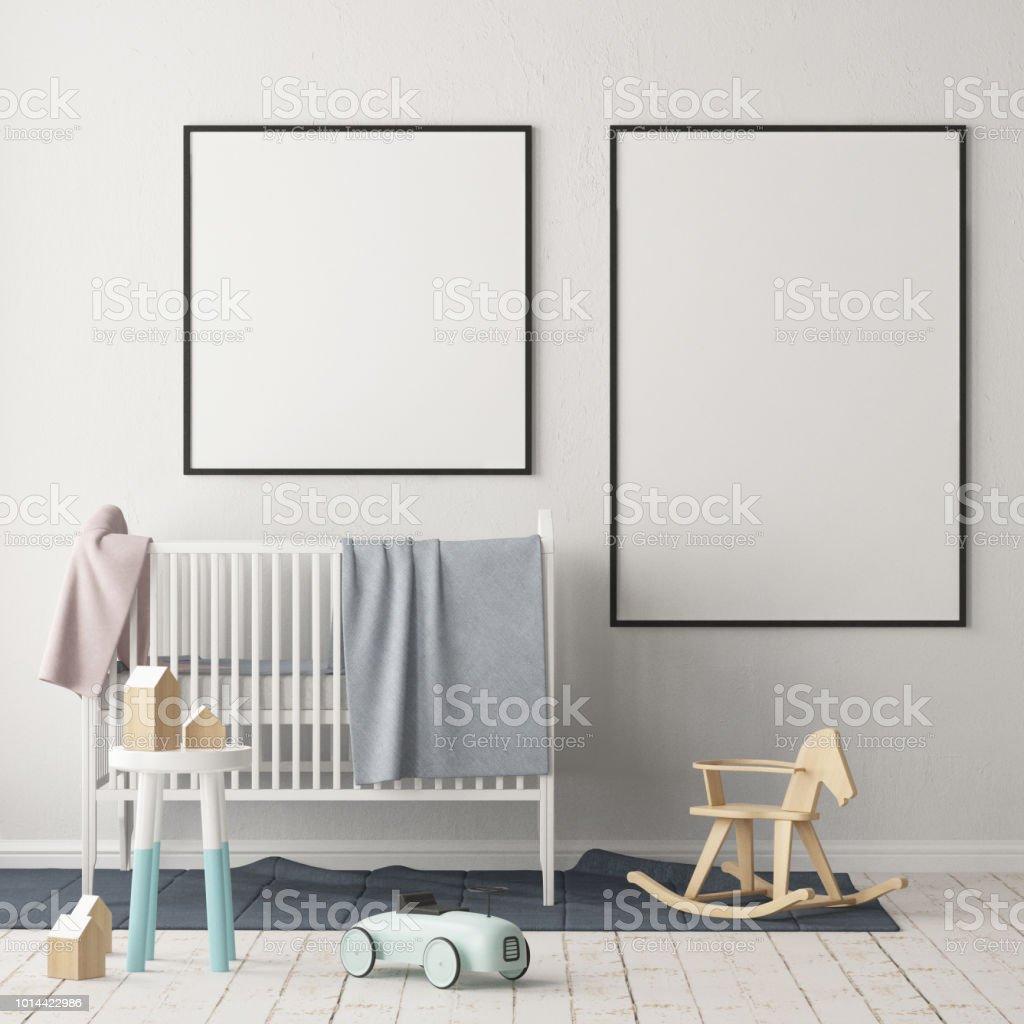 Maquette Affiche Dans La Chambre Du0027enfants Dans Des Couleurs Pastel. Style  Scandinave.