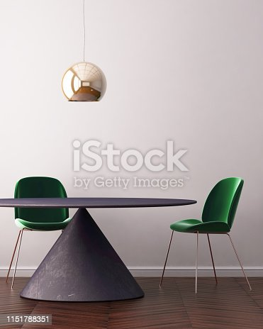 923497490 istock photo Mock up poster in the interior of the dining room with a dining table. Style ardeco. 3d 1151788351