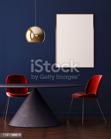 923497490 istock photo Mock up poster in the interior of the dining room with a dining table. Style ardeco. 3d 1151788870