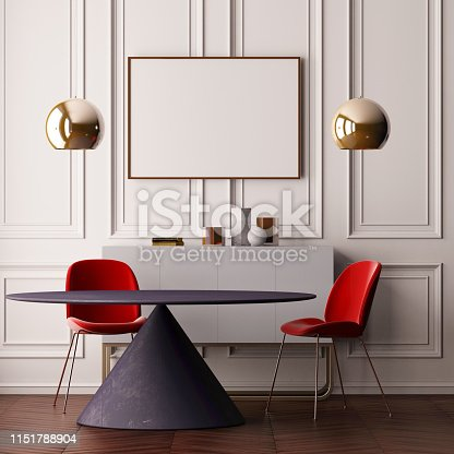 923497490 istock photo Mock up poster in the interior of the dining room with a dining table. Style ardeco. 3d 1151788904