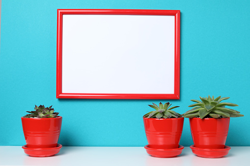 518847146 istock photo Mock up poster in the interior. 957732396