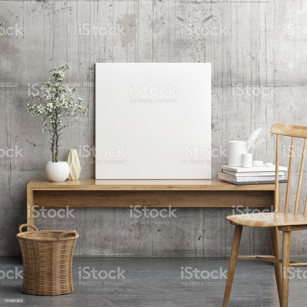 Mock up poster in wooden composition stock photo