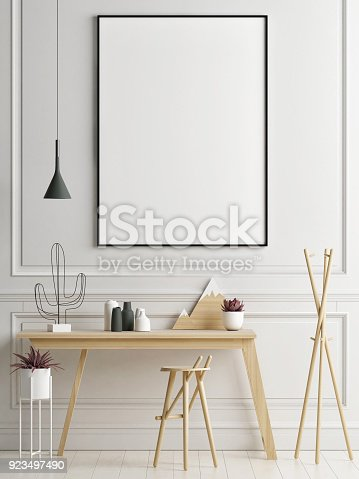 istock Mock up poster in working area, your work here 923497490