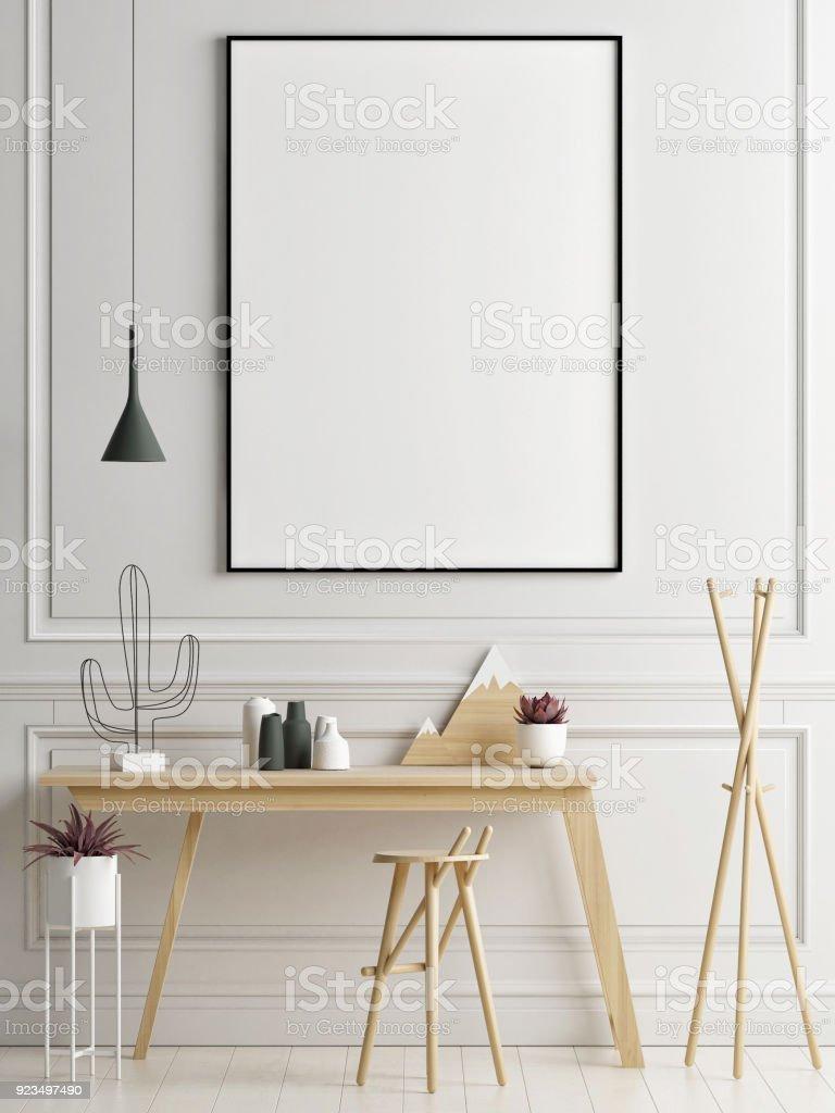 Mock-up Plakat im Arbeitsbereich, Ihre Arbeit hier – Foto