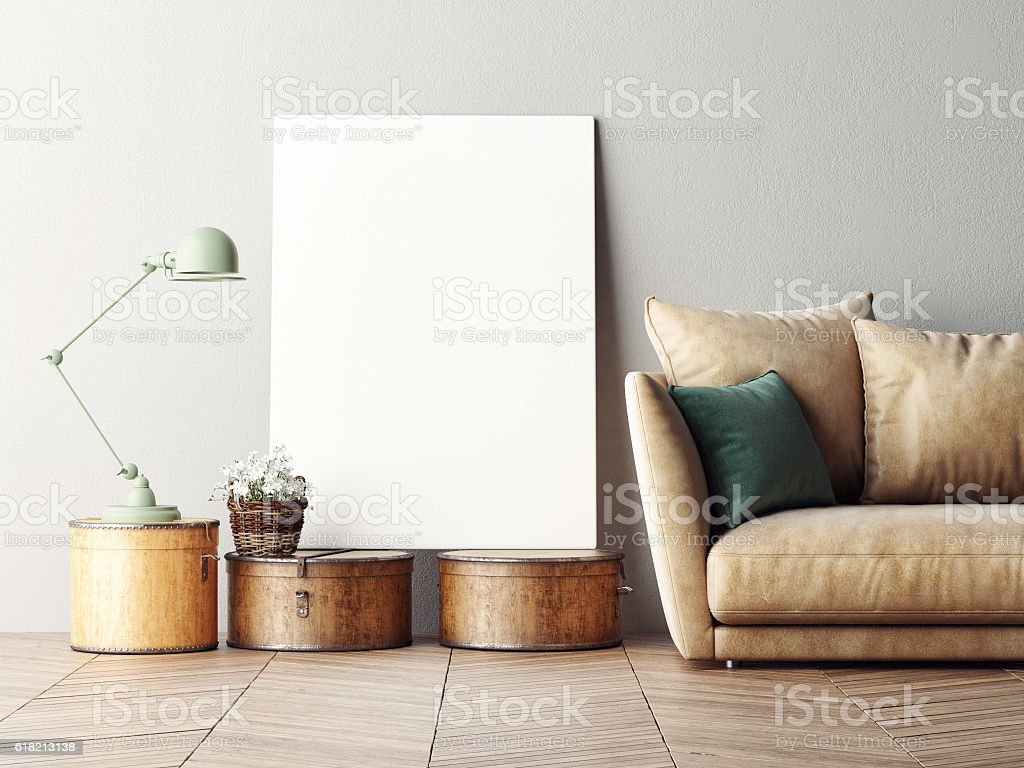 Mock up poster, interior composition, sofa, lamp and white poster stock photo