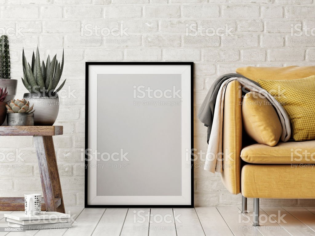 Mock up poster, interior composition, sofa, wood chair, flower and white poster royalty-free stock photo