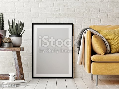 923497490istockphoto Mock up poster, interior composition, sofa, wood chair, flower and white poster 865889252