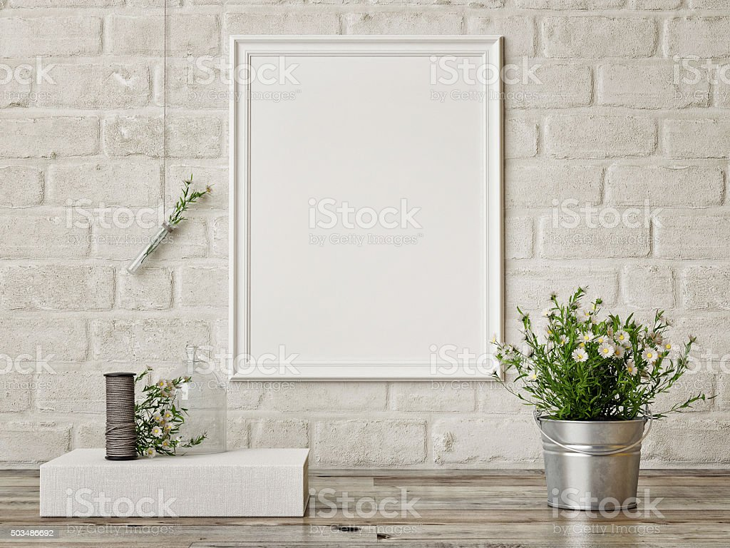 Mock up poster, interior composition,white brick wall, flowers stock photo
