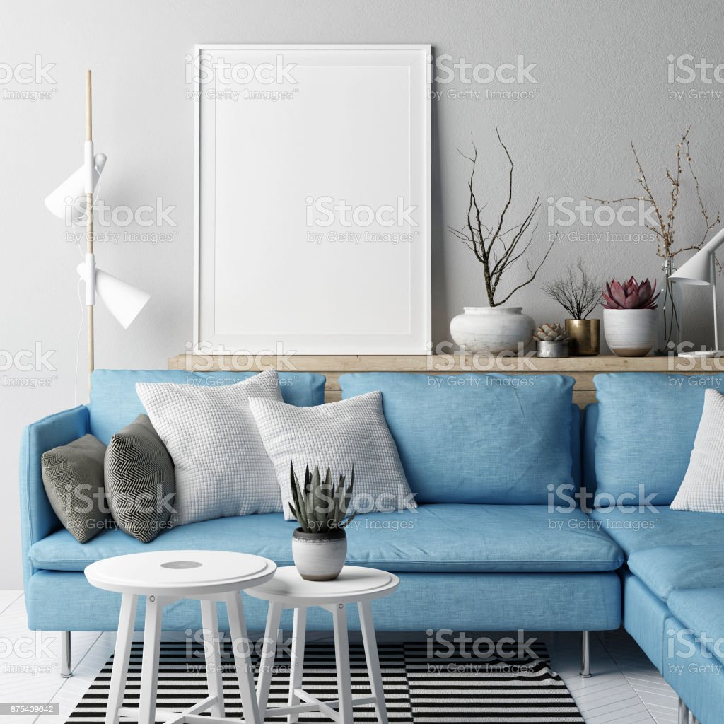 Mock Up Poster Living Room Nordic Concept Design Blue Sofa On Gray ...