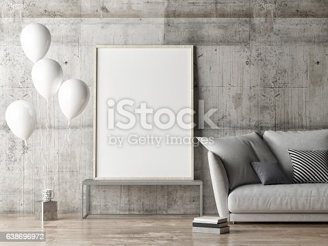 istock mock up poster, living room with balloons 638696972